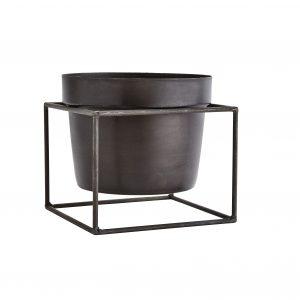 Madam Stoltz - Flower pot square stand ant black iron - maat S