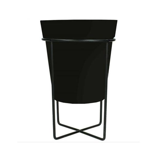 Planter Metal 15x15x24cm Black 24x15x15cm