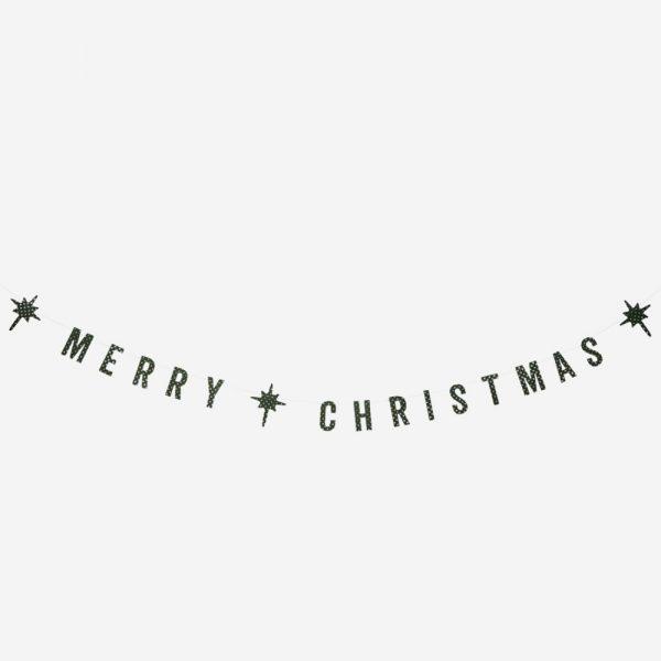 Madam Stoltz merry christmas slinger groen glitter