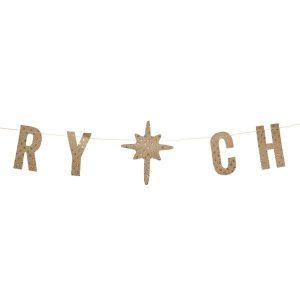 Madam Stoltz merry christmas slinger bruin glitter